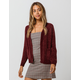 SKY AND SPARROW Waffle Chenille Burgundy Womens Cardigan