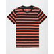 BLUE CROWN Simple Stripe Black & Orange Mens T-Shirt