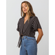 CHANCE Stripe Tie Front Womens Top