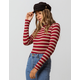 SKY AND SPARROW Stripe Mock Neck Burgundy Womens Tee