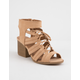QUPID Lace Up Block Heel Toffee Womens Sandals