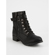 SODA Strap Buckle Black Womens Combat Boots