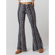 SKY AND SPARROW Mixed Linear Print Womens Flare Pants