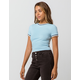 FULL TILT Contrast Trim Light Blue Womens Ringer Tee