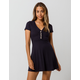 SKY AND SPARROW Ribbed Button Front Fit N Flare Dress