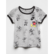 DISNEY Allover Mickey Girls Ringer Tee