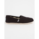 TOMS Black Canvas Womens Classic Slip-Ons