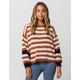 WOVEN HEART Stripe Chenille Balloon Womens Sweater