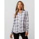 LOVE FIRE White & Black Womens Plaid Shirt