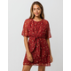 LOVE FIRE Ditsy Floral Tie Front Dress