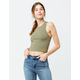 BOZZOLO High Neck Racerback Olive Womens Crop Tank Top