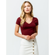 DESTINED Ribbed V-Neck Wine Womens Crop Tee