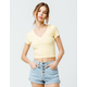 DESTINED Ribbed V-Neck Yellow Womens Crop Tee