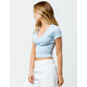 DESTINED Ribbed V-Neck Light Blue Womens Crop Tee