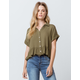 HIATUS Button Front Roll Cuff Olive Womens Crop Top