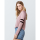 BOZZOLO Varsity Stripe Taupe Womens Crop Tee