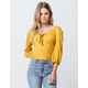 SKY AND SPARROW Stripe Tie Front Mustard Womens Crop Top