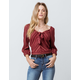 SKY AND SPARROW Stripe Tie Front Burgundy Womens Crop Top