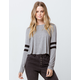 BOZZOLO Varsity Stripe Heather Gray Womens Crop Tee