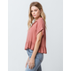 HIATUS Button Front Roll Cuff Rust Womens Crop Top