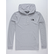 THE NORTH FACE Triblend Henley Heather Gray Mens Lightweight Hoodie