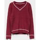WOVEN HEART Collegiate Burgundy Combo Girls Sweater