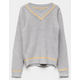 WOVEN HEART Collegiate Gray Combo Girls Sweater