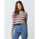 SKY AND SPARROW Stripe Johnny Collar Womens Top