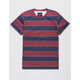 BLUE CROWN Rincon Stripe Burgundy Mens T-Shirt