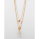 FULL TILT Layered Crystal Moon Stone Gold Necklace
