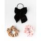 FULL TILT 3 Pack Suede & Bow Scrunchies