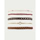 FULL TILT 5 Pack Braid & Bead Gold Bracelets