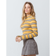 SKY AND SPARROW Stripe Mock Neck Mustard Womens Sweater