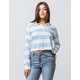 FULL TILT Stripe Light Blue Womens Rugby Tee