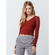 SKY AND SPARROW V-Neck Button Front Rust Womens Crop Top