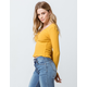 SKY AND SPARROW V-Neck Button Front Mustard Womens Crop Top