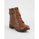 SODA Strap Buckle Tan Womens Combat Boots
