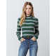 SKY AND SPARROW Stripe Mock Neck Green Womens Sweater