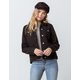 SKY AND SPARROW Sherpa Black Womens Denim Jacket