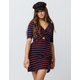 SOCIAL GYPSY Elbow Stripe Cinch Front Fit N Flare Dress
