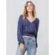 SKY AND SPARROW Floral Button Front Navy Womens Top
