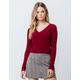 SKY AND SPARROW Fuzzy V-Neck Burgundy Womens Crop Sweater