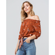 MIMI CHICA Floral Tie Front Rust Womens Off The Shoulder Top