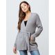 SKY AND SPARROW Ribbed Waist Tie Womens Cardigan