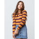 SKY AND SPARROW Ribbed Multi Stripe Womens Sweater