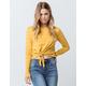 FULL TILT Stripe Tie Front Mustard Womens Crop Tee
