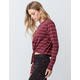 FULL TILT Stripe Tie Front Burgundy Womens Crop Tee
