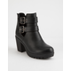 SODA Buckle Cut Out Womens Heeled Boots