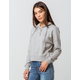 SKY AND SPARROW Button Collar Heather Gray Womens Hoodie