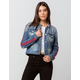 SKY AND SPARROW Sleeve Stripe Womens Ripped Denim Jacket